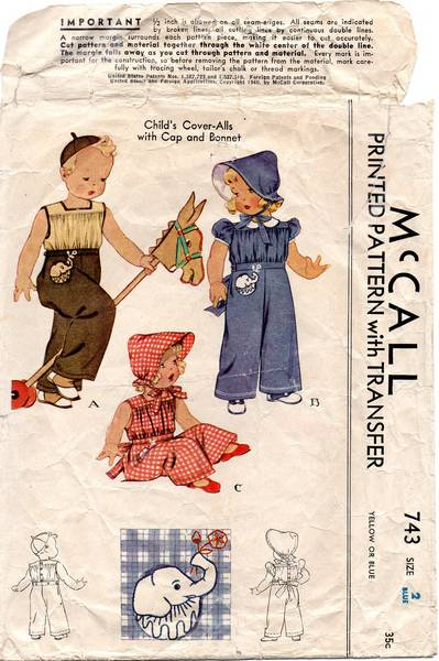 1940 McCall 743 Childs Cover-Alls and Bonnet Pattern Sz 3