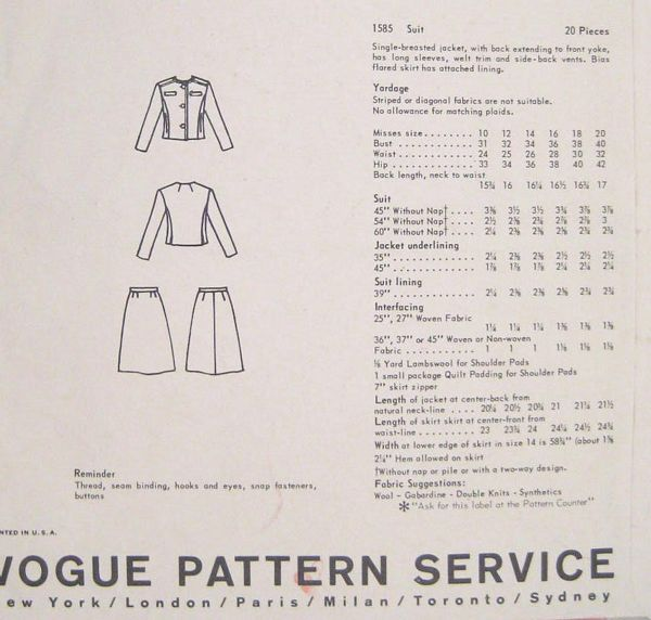 Cavanagh Vogue Couturier Design Suit Pattern 1585 Bust 34