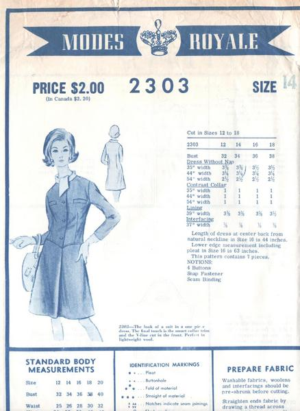 60's Modes Royale Two-Piece Look Dress Pattern Bust 34